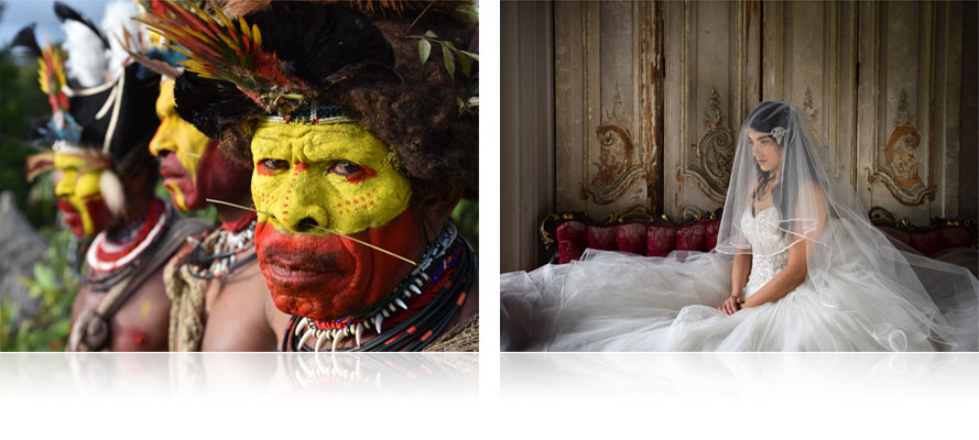 composite photo of tribal warriors and a bride on a couch in profile, shot with the AF-S NIKKOR 24-70mm f/2.8E ED VR