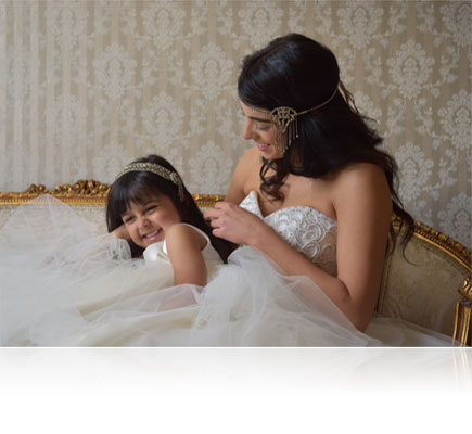 AF-S NIKKOR 24-70mm f/2.8E ED VR photo of a bride and flower girl photographed candidly