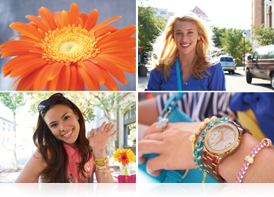 four photos include an orange flower, two portraits and a close up a a woman's hand with watch and bracelets