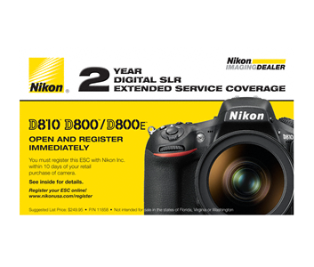 D800, D810, D810A Extended Service Coverage (2 Years)