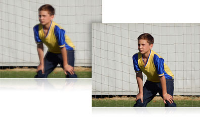 Two photos of a boy in the soccer goal, one blurry and the other sharp showing how VR works