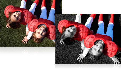 Two photos of two boys in football gear, one in full color, the other in selective color