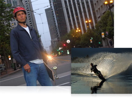 Photo of a skateboarder at dusk and a waterskiier making a wave in low light
