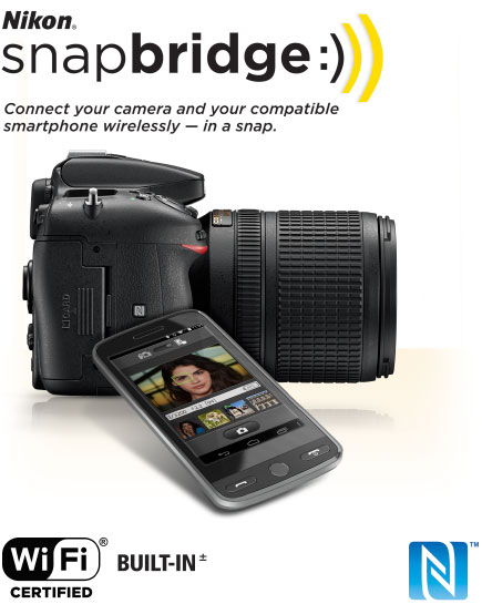 Product photo of the Nikon D7200 with a lens attached, a smartphone and the snapbridge logo