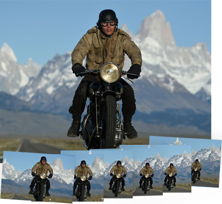 D7200 DSLR photos of a man on a motorscycle with mountains in the background, inset with multiple frames showing continuous shooting