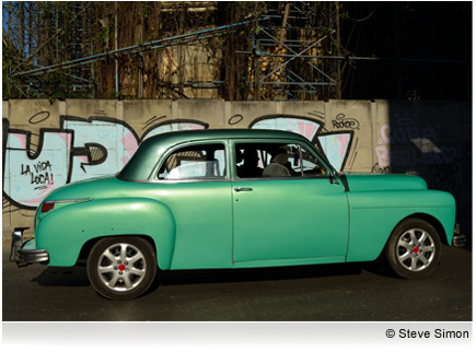 Photo of an old green car taken with the AF-S NIKKOR 24-85mm f/3.5-4.5G ED VR lens.
