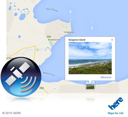 Photo of a shoreline inset into a map and the icon for GPS inset
