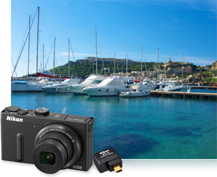 Photo of boats in a marina and product photos of the Nikon COOLPIX P330 and WU-1a inset
