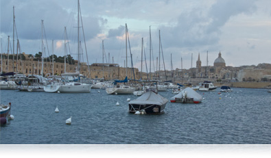 photo of sailboats in a harbor and city beyond