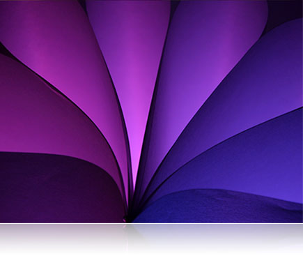 Photo of a range of purple, violet and blue colored papers lit with the SB-R200 Speedlight