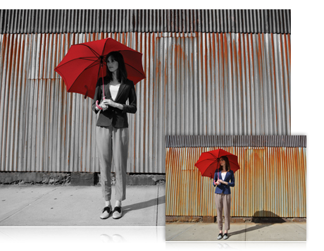 Two photos, on the left is a shot of red shoes on the beach and on the right is a BW shot with the shoes in red, showing selective color