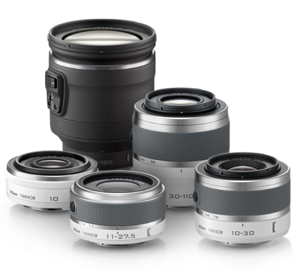 Composite image of five 1 NIKKOR lenses