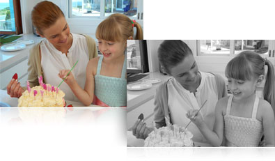 photo of a mom and daughter with a birthday cake in color and the same shot in black and white