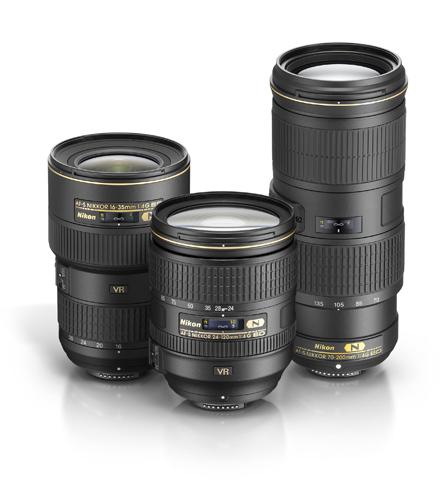 group of three f/4 NIKKOR lenses, the 70-200, 24-120mm and 16-35mm lenses