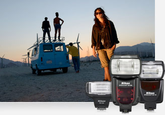 D7000 photo of a woman at sunset standing, looking at the camera while a group of guys stands near and on a van in the distance, with mountains in the background, and inset image of 3 Nikon Flashes