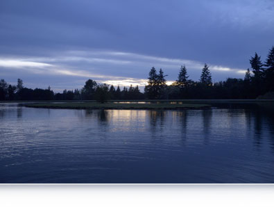 Nikon D7000 photo of a lake shot in low light with an inset shot of the metering sensor