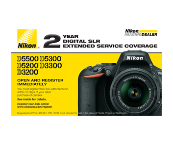 D5500, D5300, D5200, D3300, D3200 Extended Service Coverage (2 Years)