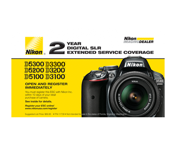 D5300, D5200, D5100, D3300, D3200, D3100 Extended Service Coverage (2 Years)