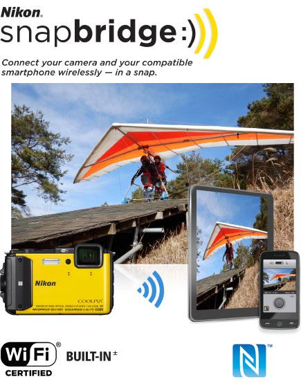 COOLPIX AW130 photo of tandem hang gliders with the image inset on a tablet and phone and the camera, and Nikon snapbridge logo