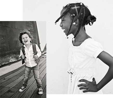 Tamara Lackey photos of a young boy laughing at the camera, full length inset on a photo of a girl looking off to the side, both in black and white