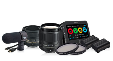 Photo of NIKKOR lenses, ME-1 microphone, EN-EL 15 batteries, an Atomos Ninja and two Tiffen Variable Neutral Density filters