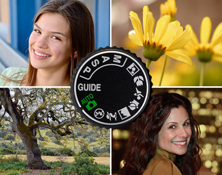 Four photos: two female portraits, a photo of yellow flowers and a photo of a tree in a park inset with the mode dial of a D-SLR