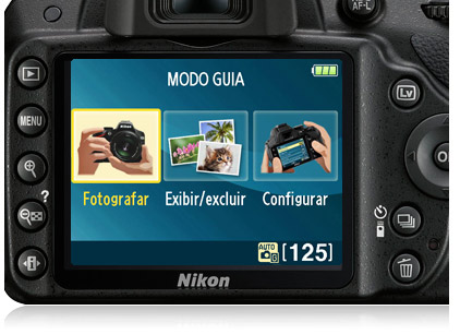 Imagem do menu do Modo Guia no LCD da HD-SLR D3200.